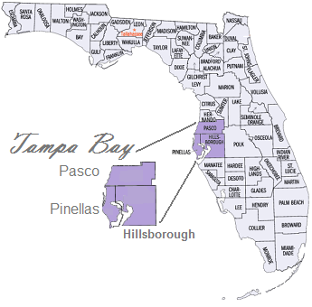 florida map tampa bay area